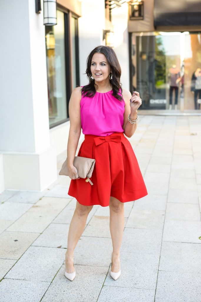 date night outfit | short red skirt | bright pink top | Petite Fashion Blog Lady in Violet