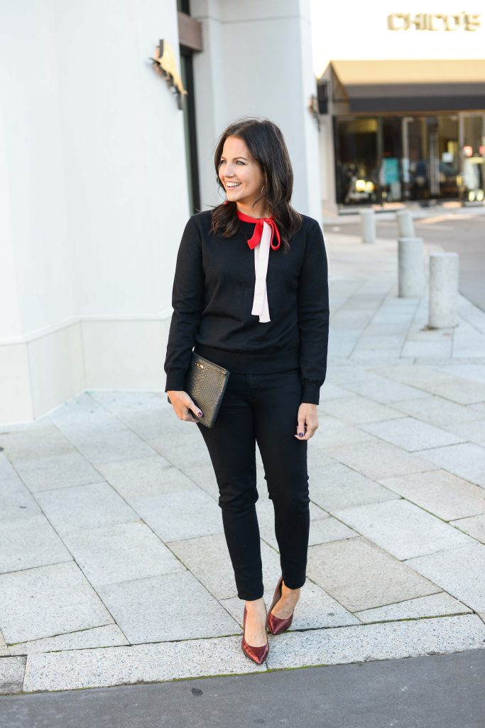 galentine's day brunch outfit | red heels | black sweater | Casual Fashion Blog Lady in Violet