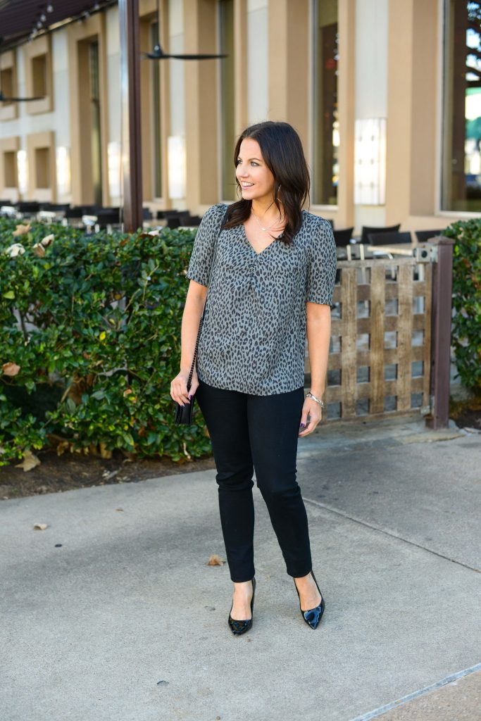 spring outfits | gray printed blouse with black denim | Everyday Fashion Blog Lady in Violet