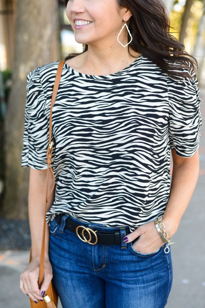 trendy spring outfit | zebra printed top | o buckle black belt | Casual Fashion Blog Lady in Violet