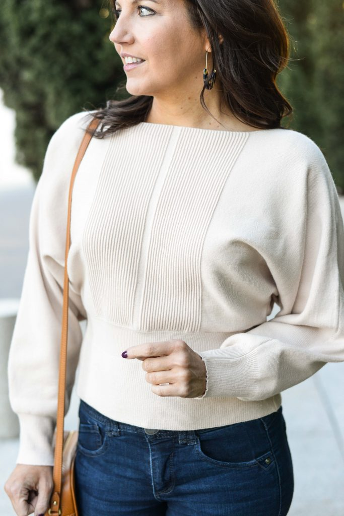 winter outfit | ivory batwing sweater | tortoise earrings | Casual Fashion Blog Lady in Violet