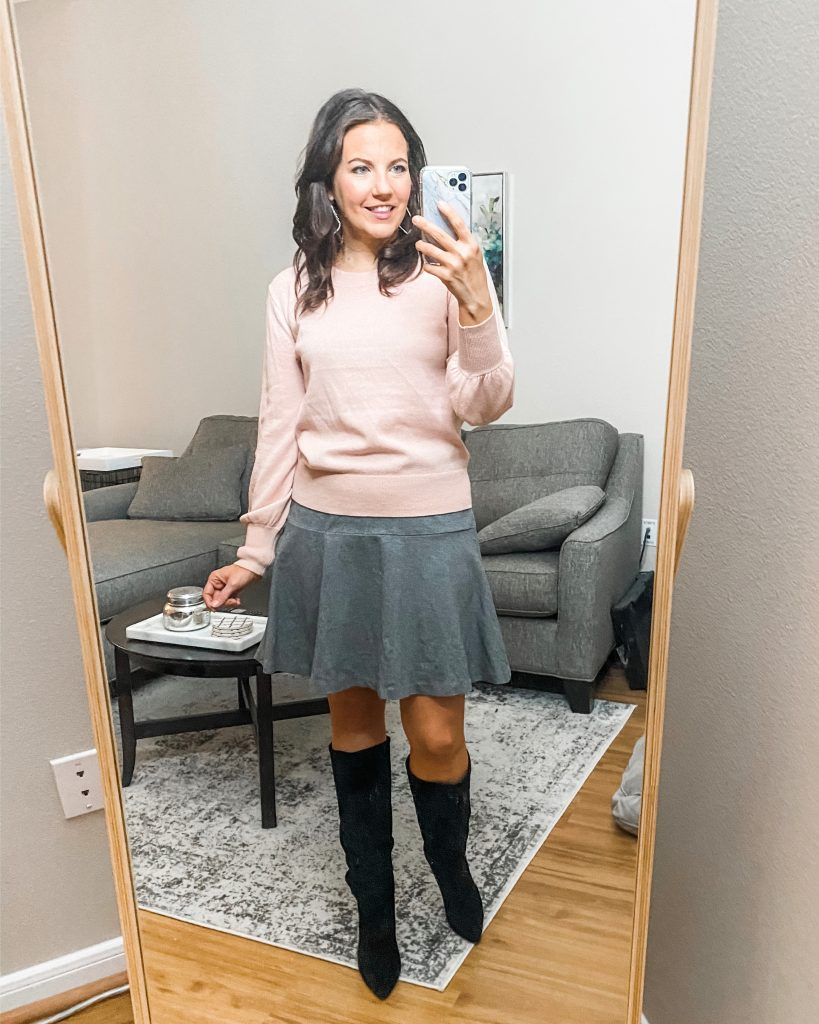 winter work outfit | pink cashmere sweater with gray short skirt | Attainable Style Blog Lady in Violet