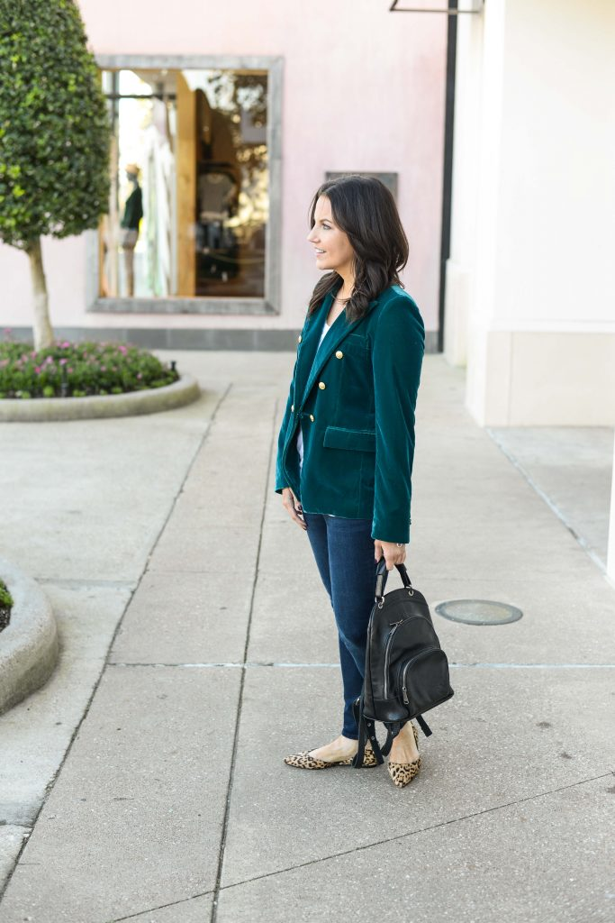 casual fall outfit | dark green velvet blazer | leather backpack purse | Everyday Fashion Blog Lady in Violet
