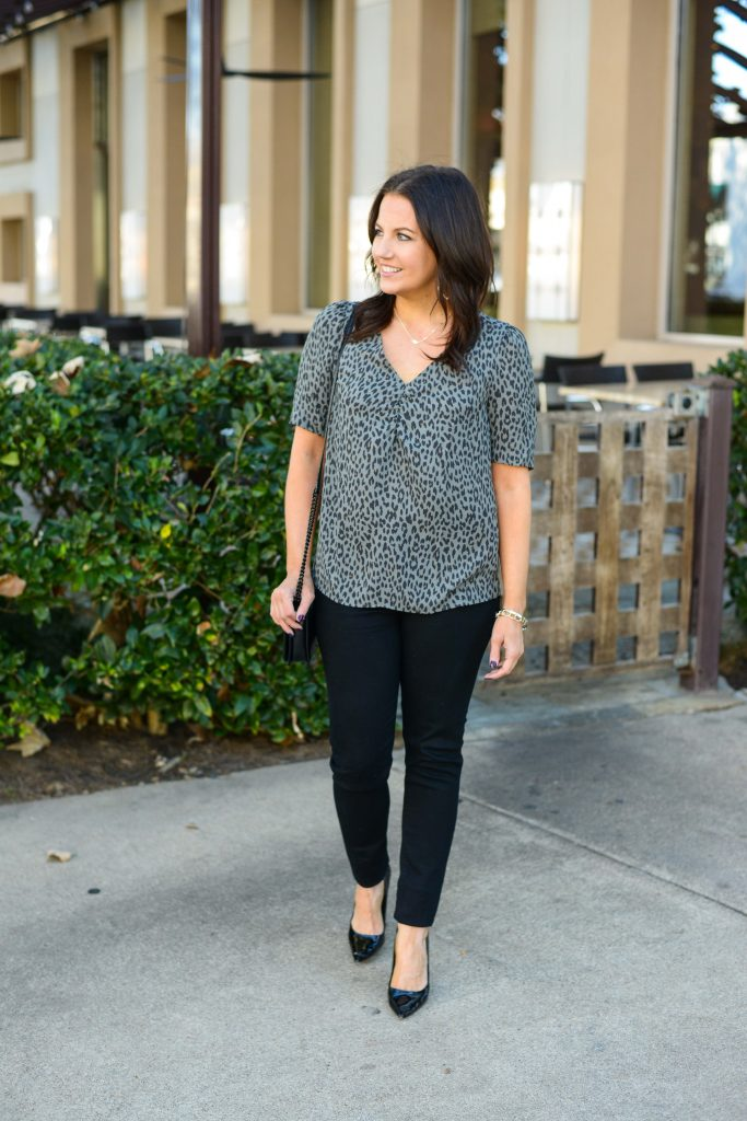 casual fall outfit | gray leopard print top | black patent heels | Petite Fashion Blog Lady in Violet