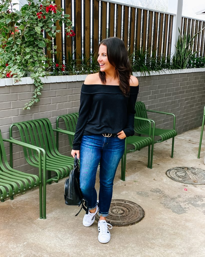 casual outfit | off the shoulder sweater | white adidas sneakers | Houston Fashion Blogger Lady in Violet