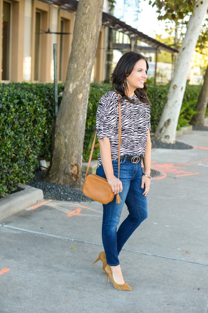 spring outfit idea | puff sleeve animal print top | dark blue denim| Southern Style Blog lady in Violet
