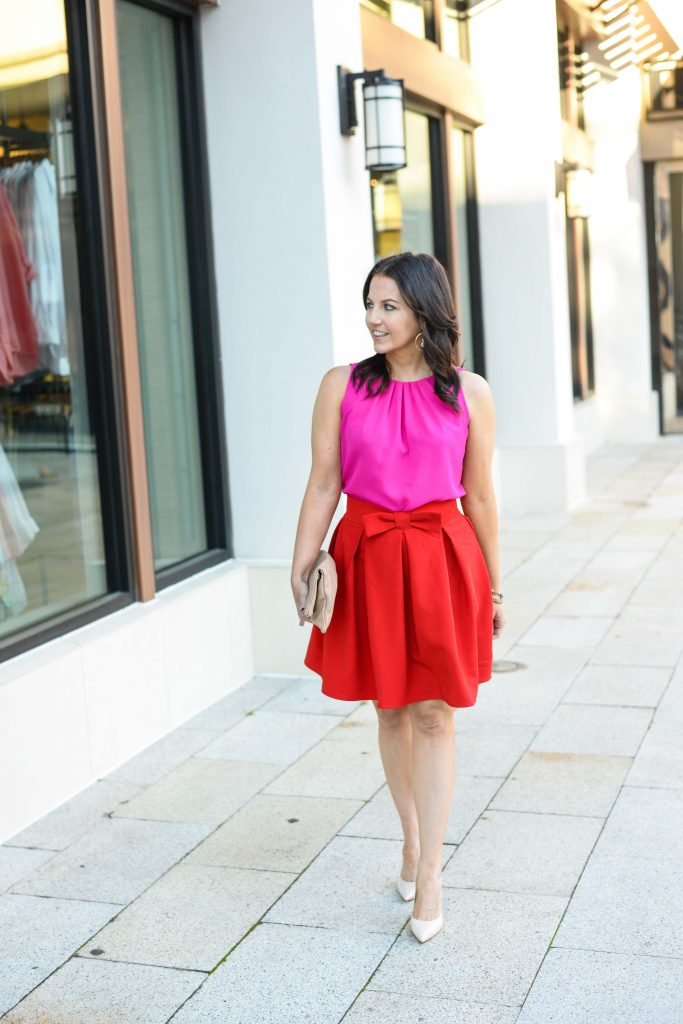 valentines day outfit | red pleated skirt | pink sleeveless top | Everyday Fashion Blog Lady in Violet
