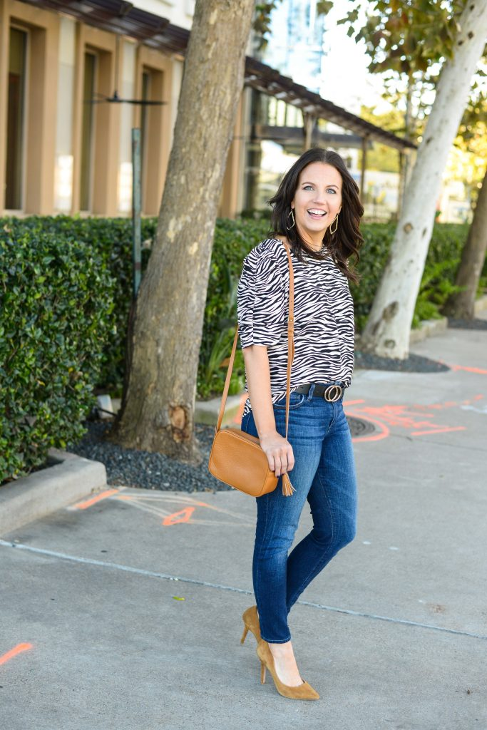casual spring outfit | animal printed blouse | light brown small purse | Texas Style Blog Lady in Violet