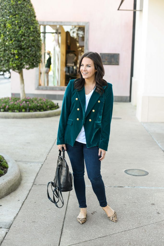 casual winter outfit | teal green velvet blazer | leopard print flats | Texas Fashion Blog Lady in Violet