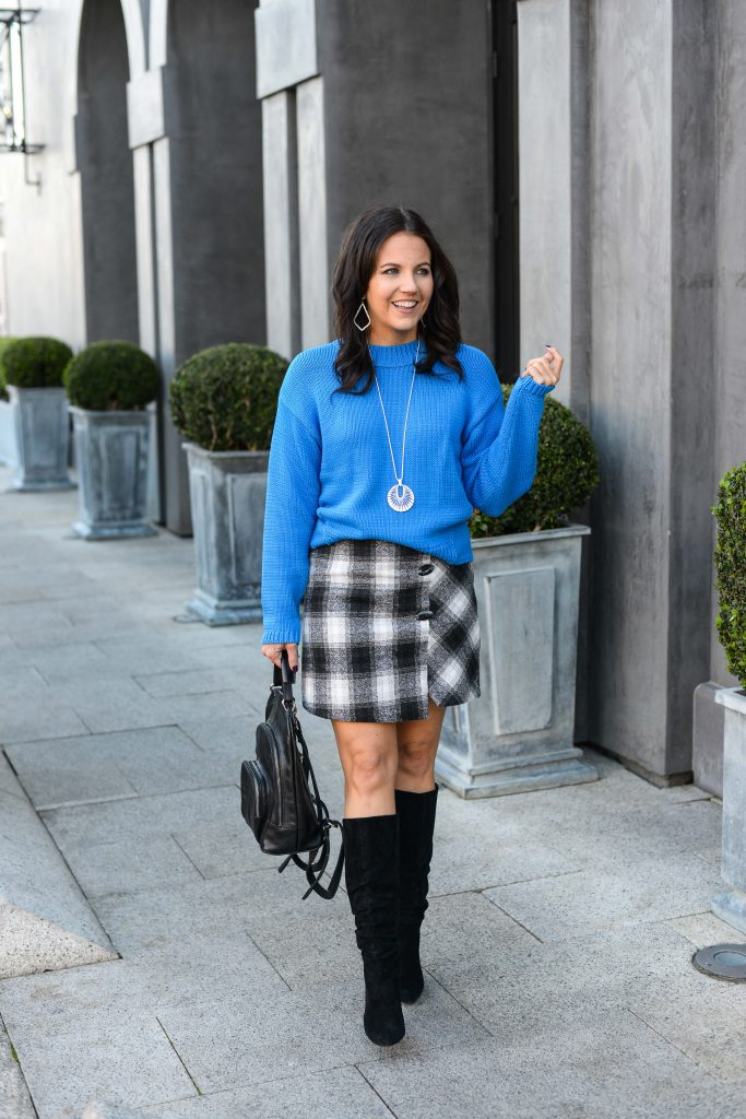 winter outfit | blue cropped sweater | black white plaid wrap skirt | Petite Fashion Blog Lady in Violet