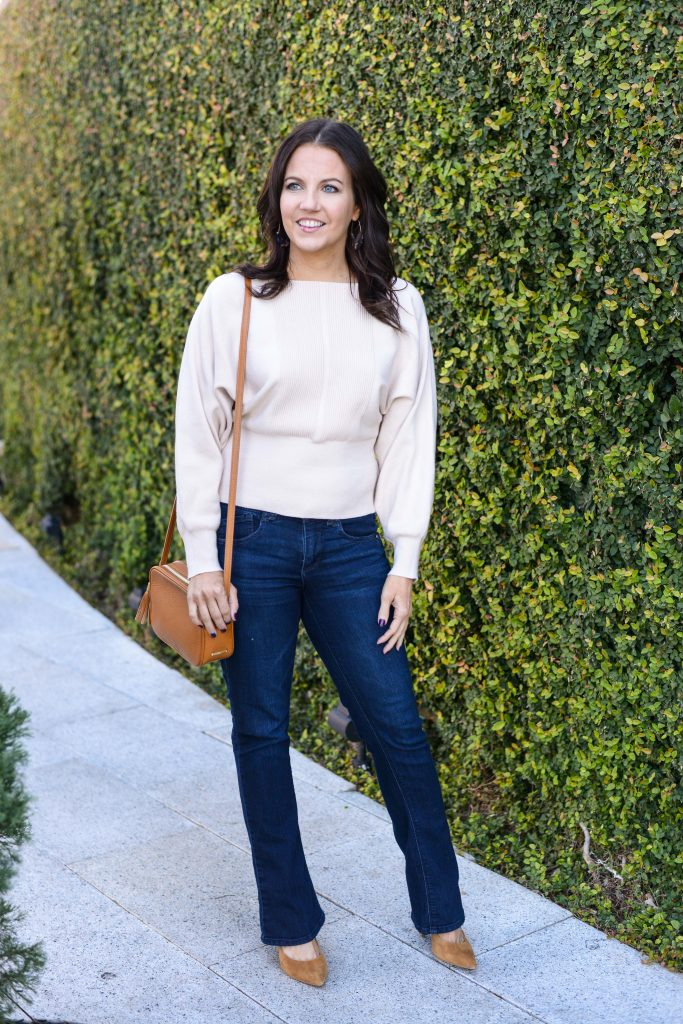 winter outfit idea | off white sweater | light brown crossbody bag | Popular Fashion Blog Lady in Violet
