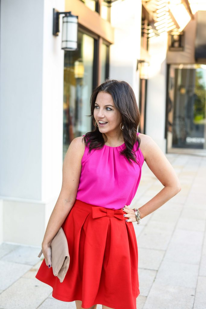 work outfit | pink crewneck top | red flared skirt | Popular Fashion Blog Lady in Violet