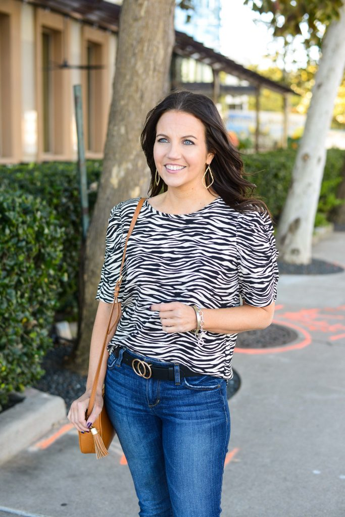 casual fashion | puff sleeve zebra print top | black amazon belt | Top Fashion Blogs for cute outfits Lady in Violet