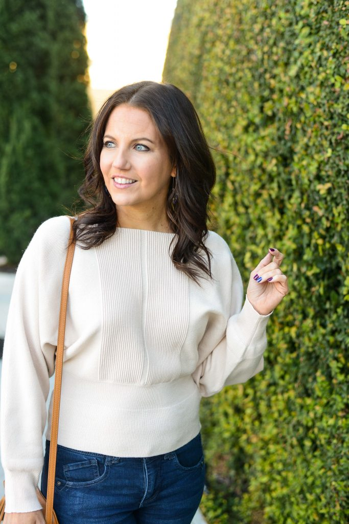 casual winter outfit | ivory sweater | petite fashion and texas style blog Lady in Violet