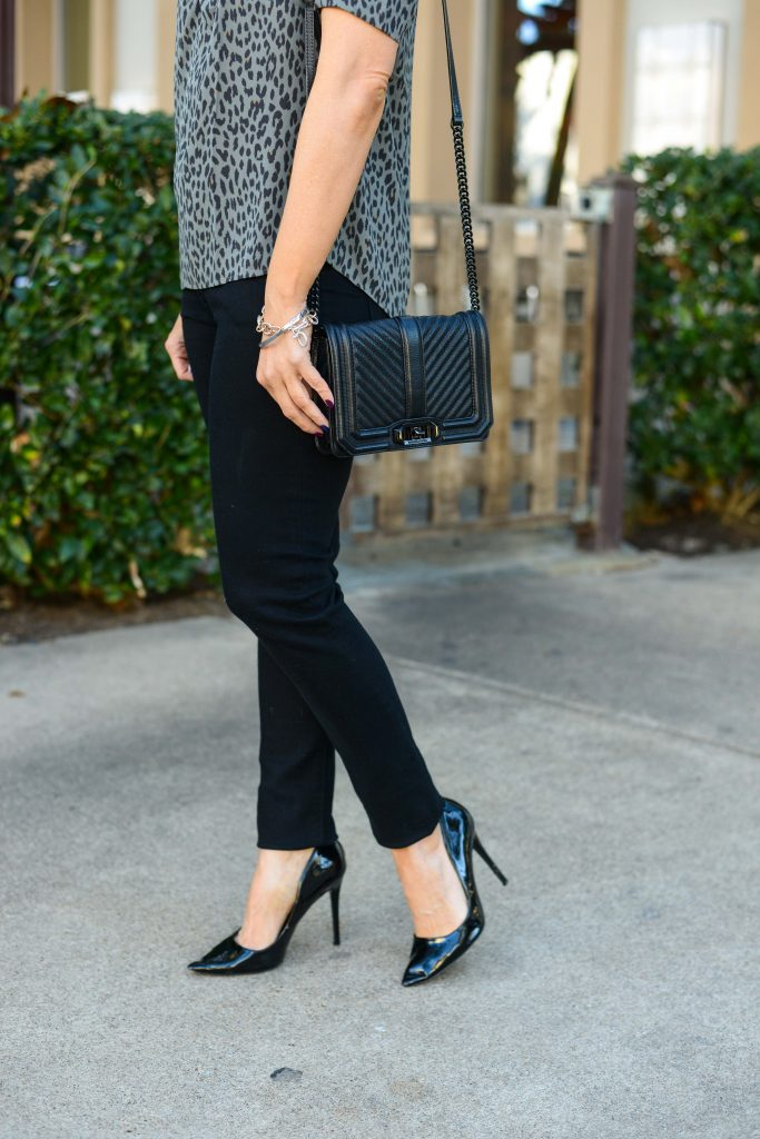 dressy casual outfit | small black leather purse | patent heels | Chic Outfit Blog Lady in Violet
