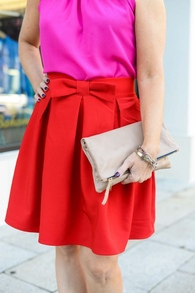 office outfit | pink blouse | red flared bow skirt | Budget Friendly Fashion Blog Lady in Violet
