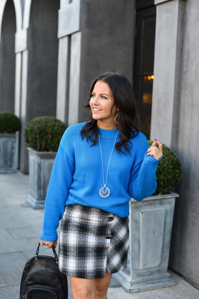 winter style | blue boxy sweater | plaid mini skirt | Southern Style Blog Lady in Violet