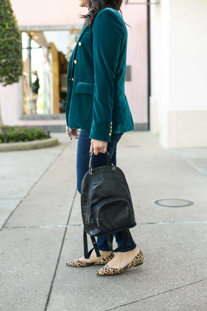 casual fall outfit | teal velvet blazer | leopard print flats | Budget Friendly Fashion Blog Lady in Violet