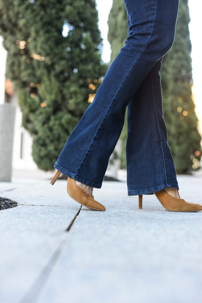 fall outfit | affordable bootcut jeans | tan suede heels | Top Fashion Blog for cute outfits Lady in Violet