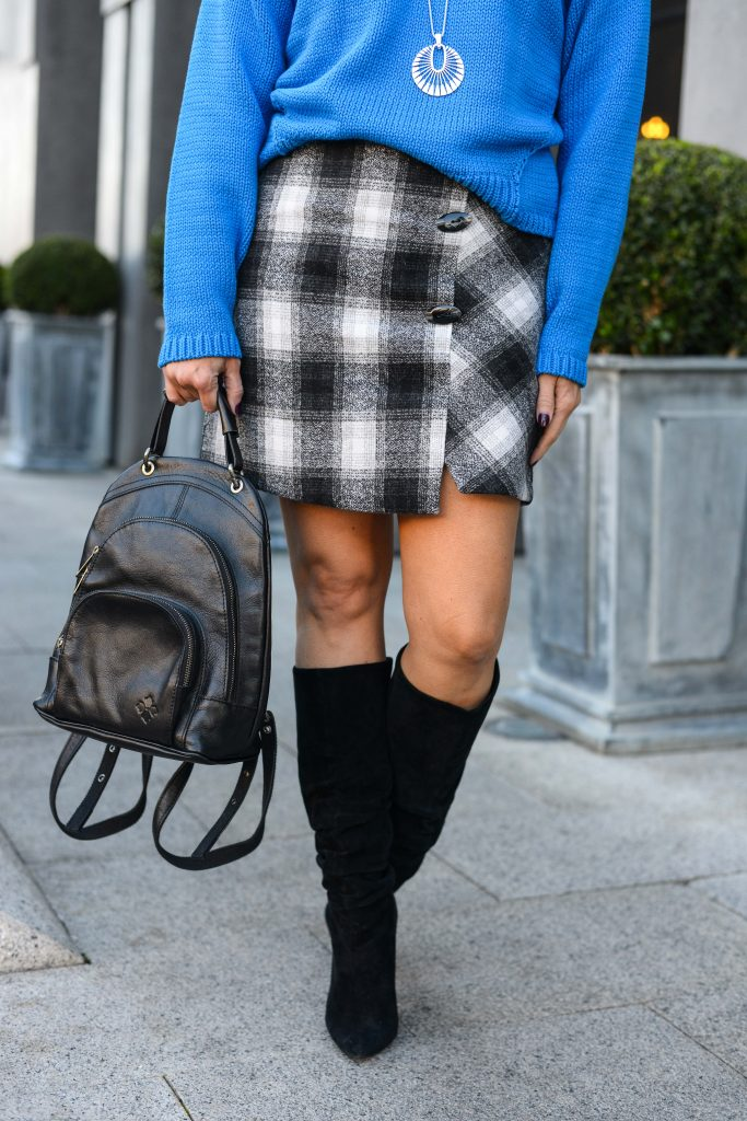 fall outfit | black plaid skirt | suede slouchy boots | Casual Fashion Blog Lady in Violet