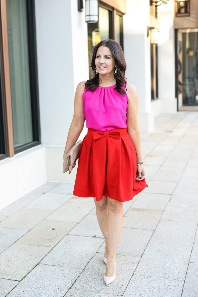 holiday party outfit | pink top with cute red skirt | Outfit Inspiration Blog Lady in Violet