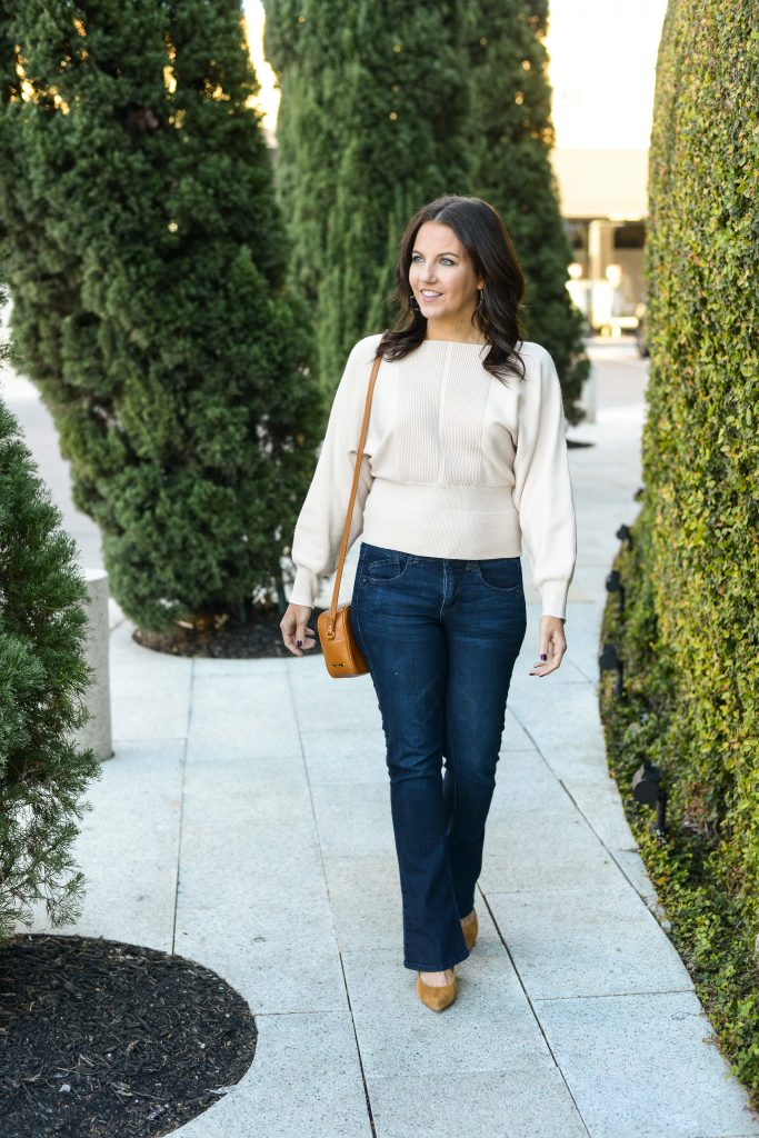 dressy casual winter outfit | ivory cropped sweater | dark wash jeans for petites | Southern Chic Style Blog Lady in Violet