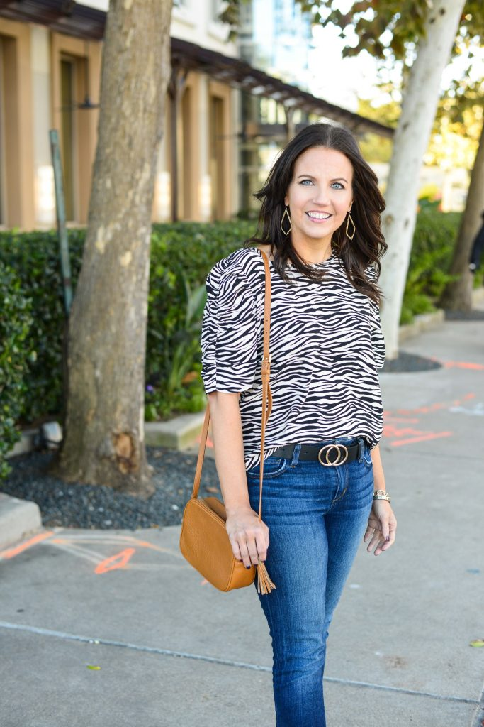spring fashion trends | zebra printed top | gold buckle belt | Top Fashion Blog Lady in Violet