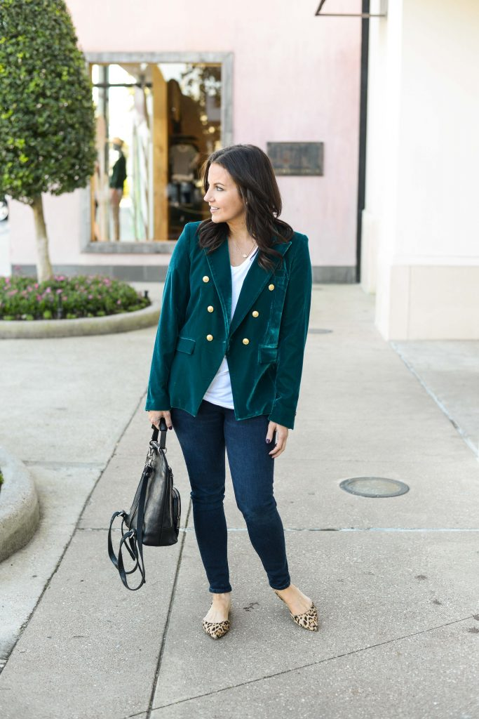 winter outfit | teal green velvet blazer with gold buttons | leopard print flat shoes | Top Outfit Blog Lady in Violet