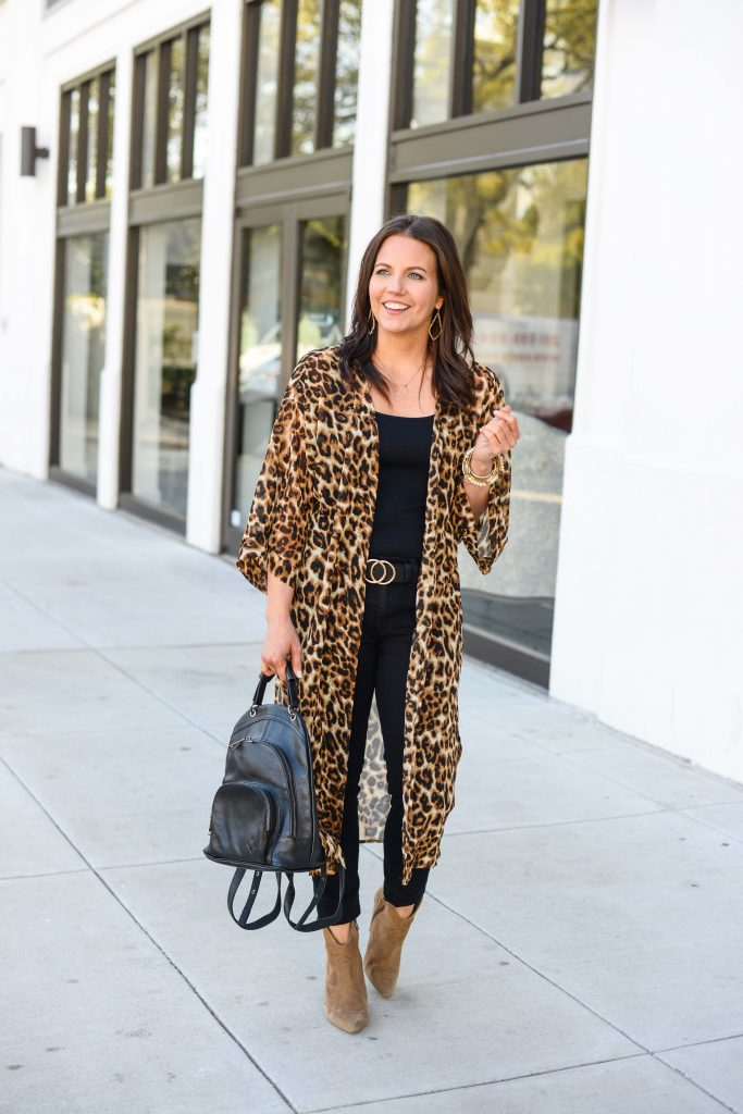 fall outfit | long leopard print kimono | brown booties | Petite Fashion Blog Lady in Violet
