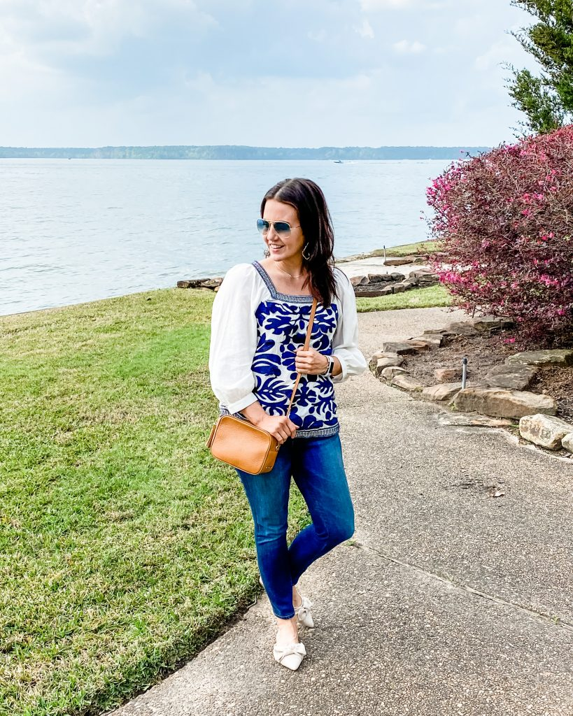 spring outfit | blue embroidered top | tan crossbody purse | Affordable Fashion Blog Lady in Violet