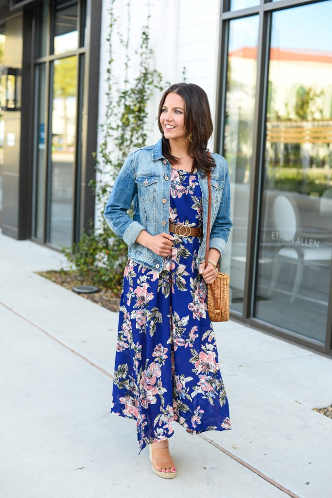 spring outfit | long floral dress with denim jacket | Affordable Fashion Blog Lady in Violet