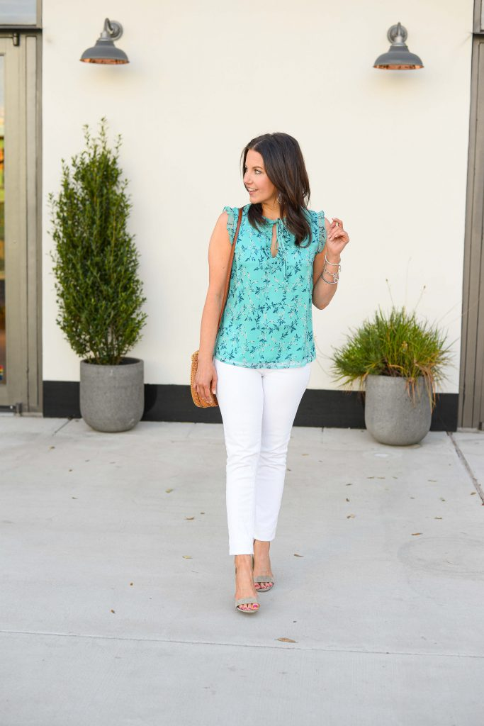spring outfit | teal floral top | white denim | Affordable Fashion Blog Lady in Violet