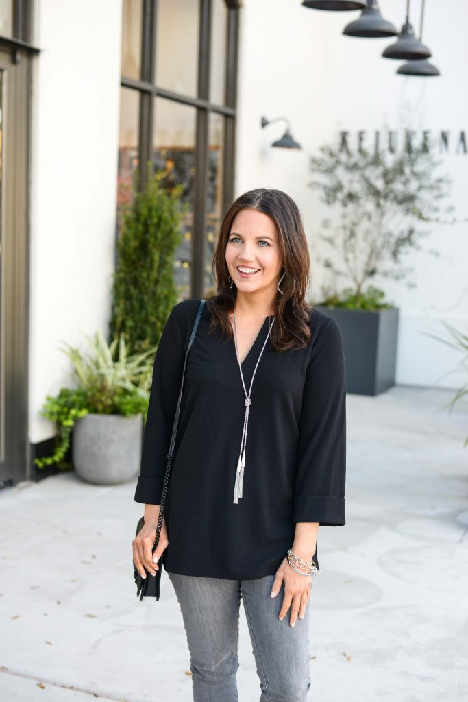 casual outfit | black v-neck tunic with a long silver rope necklace | Petite Fashion Blog Lady in Violet
