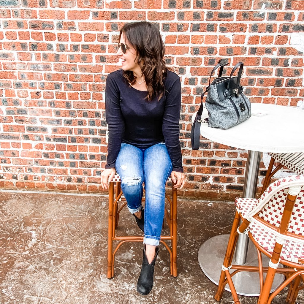 casual weekend outfit | black tee with distressed jeans | Houston Fashion Blog Lady in Violet