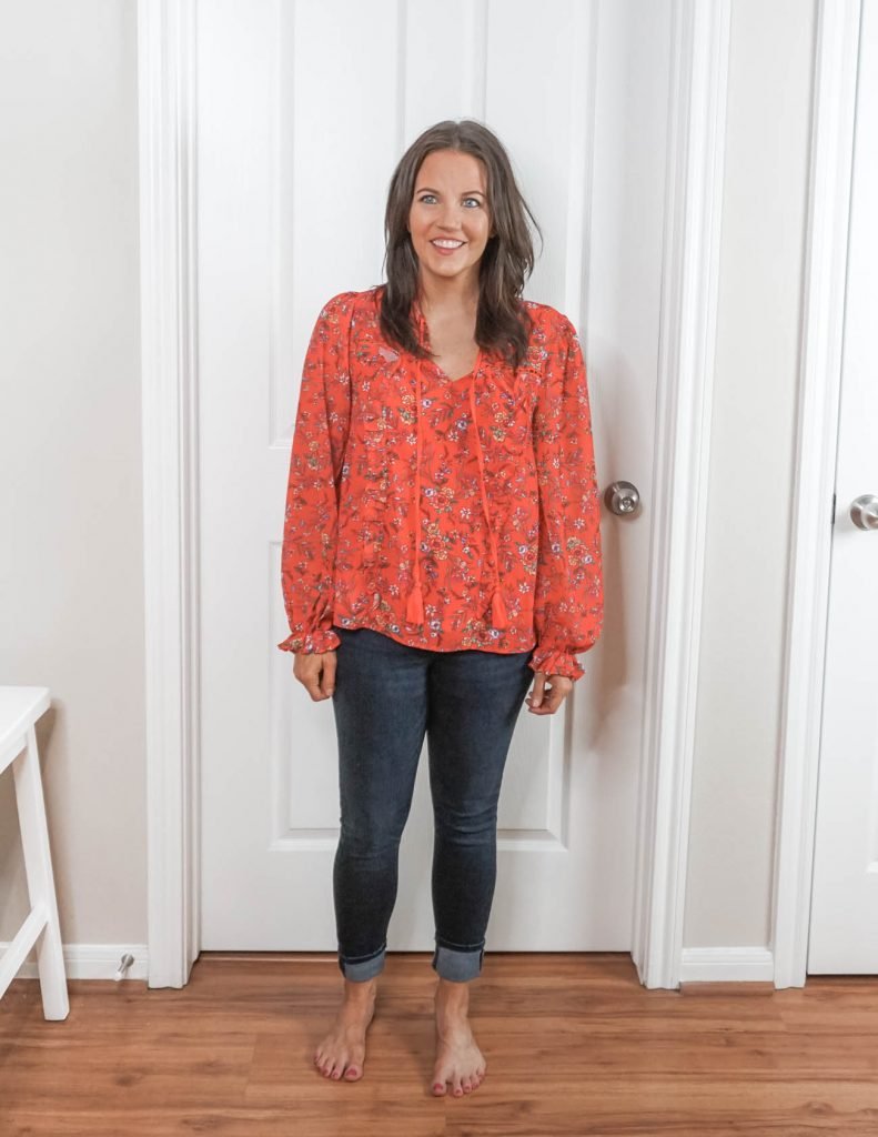 how to put together an outfit | red floral blouse | skinny jeans | Affordable Fashion Blog Lady in Violet