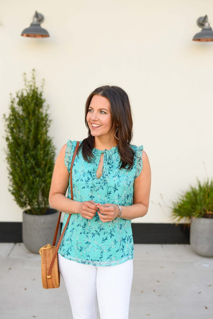 summer outfit | teal floral sleeveless top | straw circle purse | Houston Fashion Blog Lady in Violet