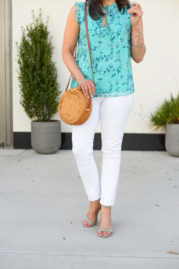 casual outfit | floral aqua blouse | white skinny jeans | Petite Fashion Blog Lady in Violet