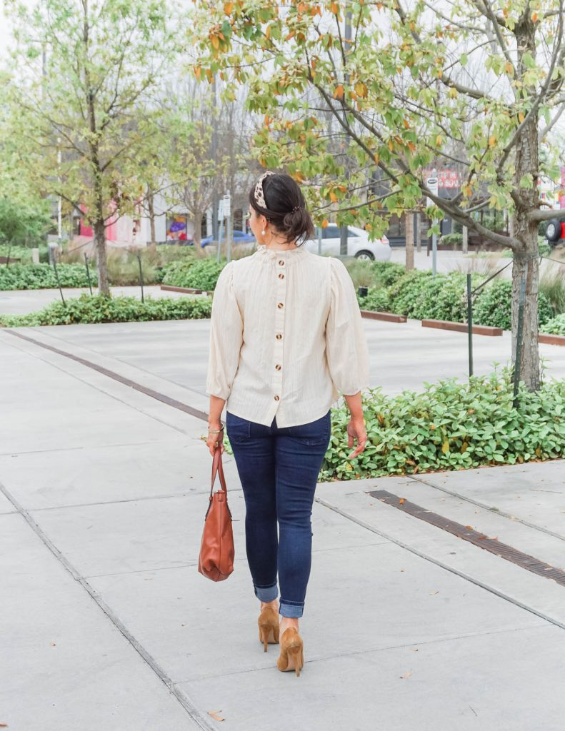 casual spring outfit | button back blouse | dark wash jeans | Everyday Fashion Blog Lady in Violet