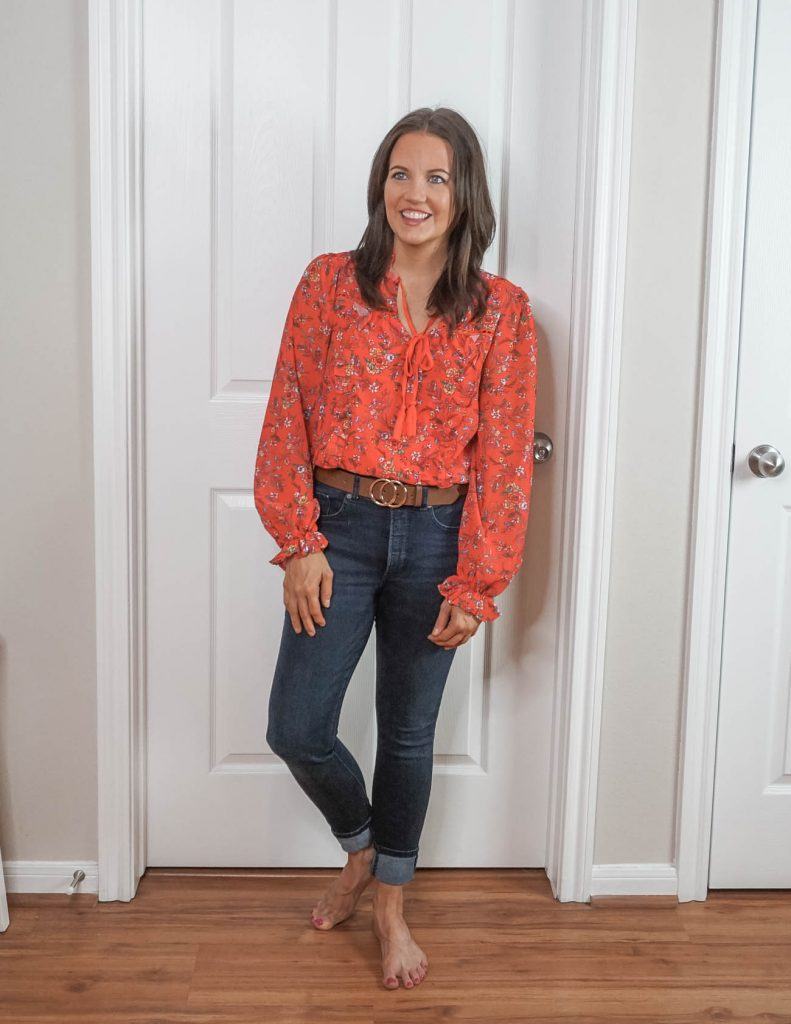 how to style an outfit | red long sleeve floral print top with brown double circle belt | Everyday Fashion Blog Lady in Violet