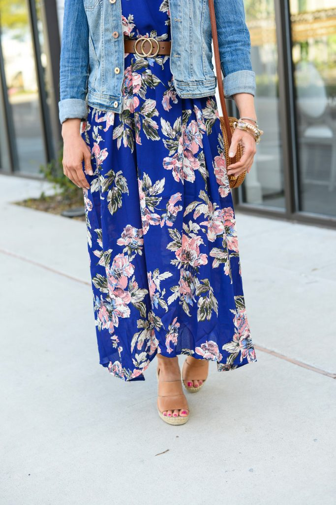 spring outfit | brown espadrille wedges with blue floral maxi dress | Casual Fashion Blog Lady in Violet