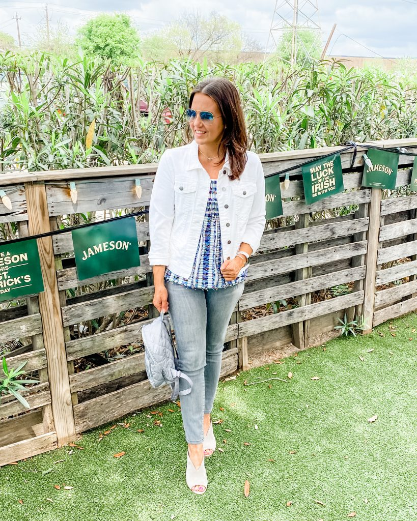 spring outfit | white jean jacket with gray denim pants | Casual Fashion Blog Lady in Violet