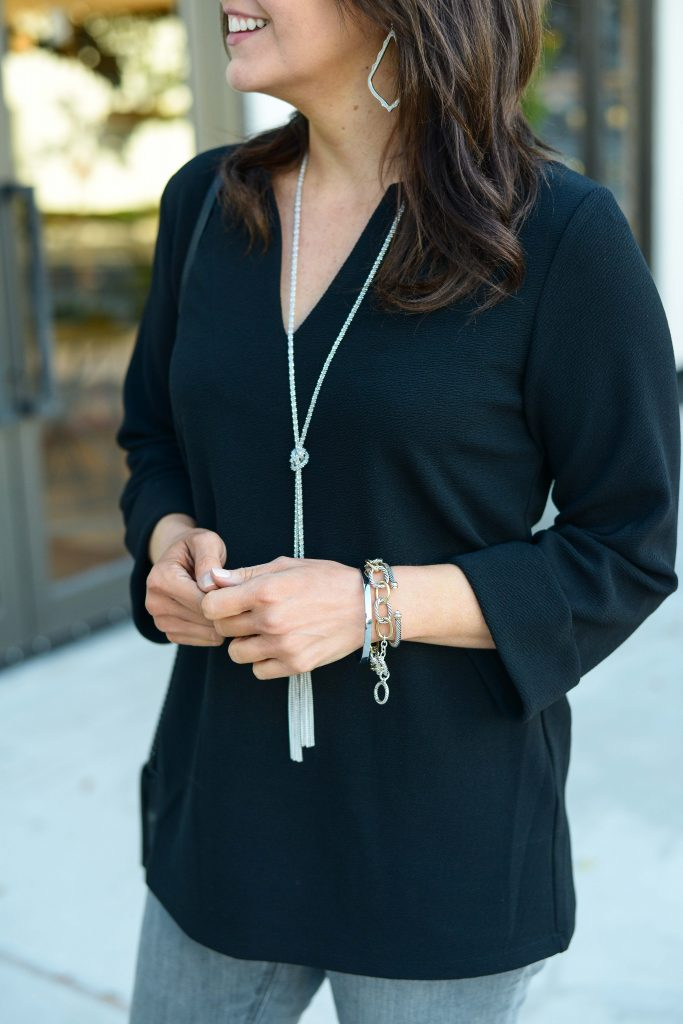casual outfit | black 3/4 sleeve top with silver bracelet stack | Everyday Outfits Blog Lady in Violet