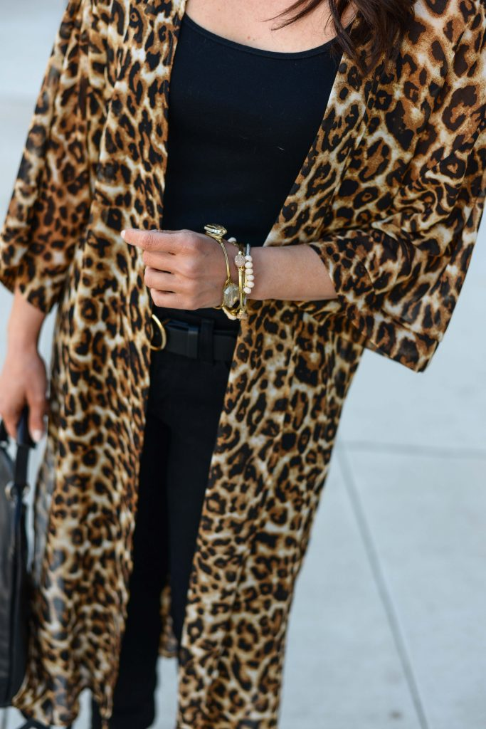 casual spring outfit | leopard kimono | stone bangle bracelets | Budget Friendly Fashion Blog Lady in Violet