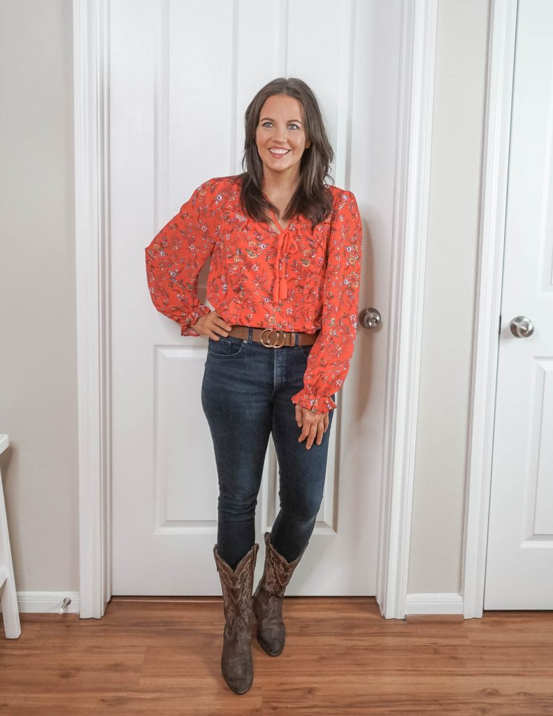 cute rodeo outfit | brown cowboy boots | red floral blouse | Texas Fashion Blog Lady in Violet