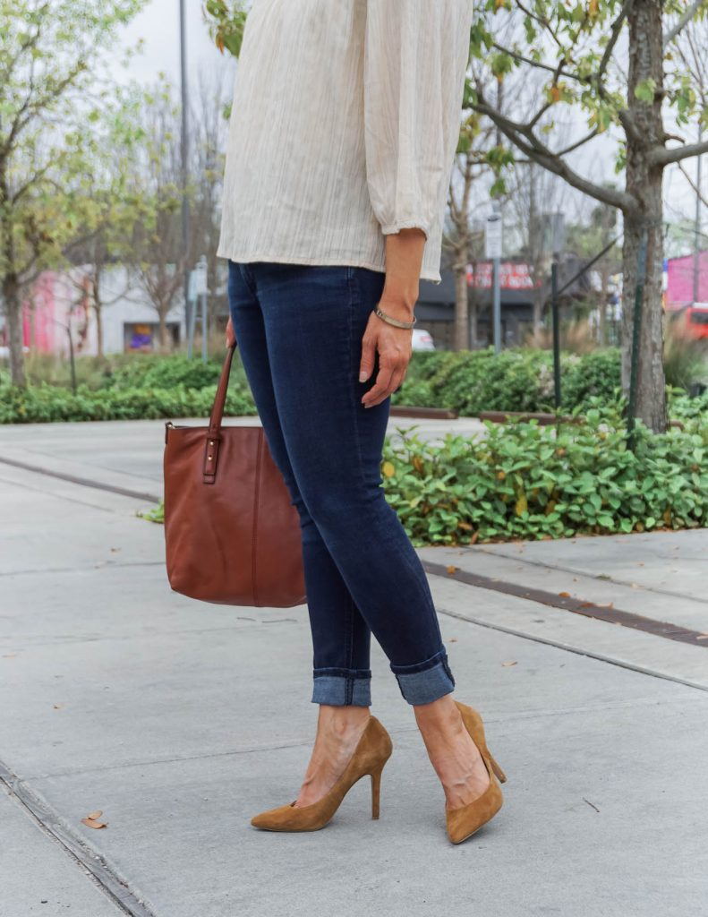 dressy casual outfit | dark blue jeans | brown suede heels | Petite Fashion Blog Lady in Violet