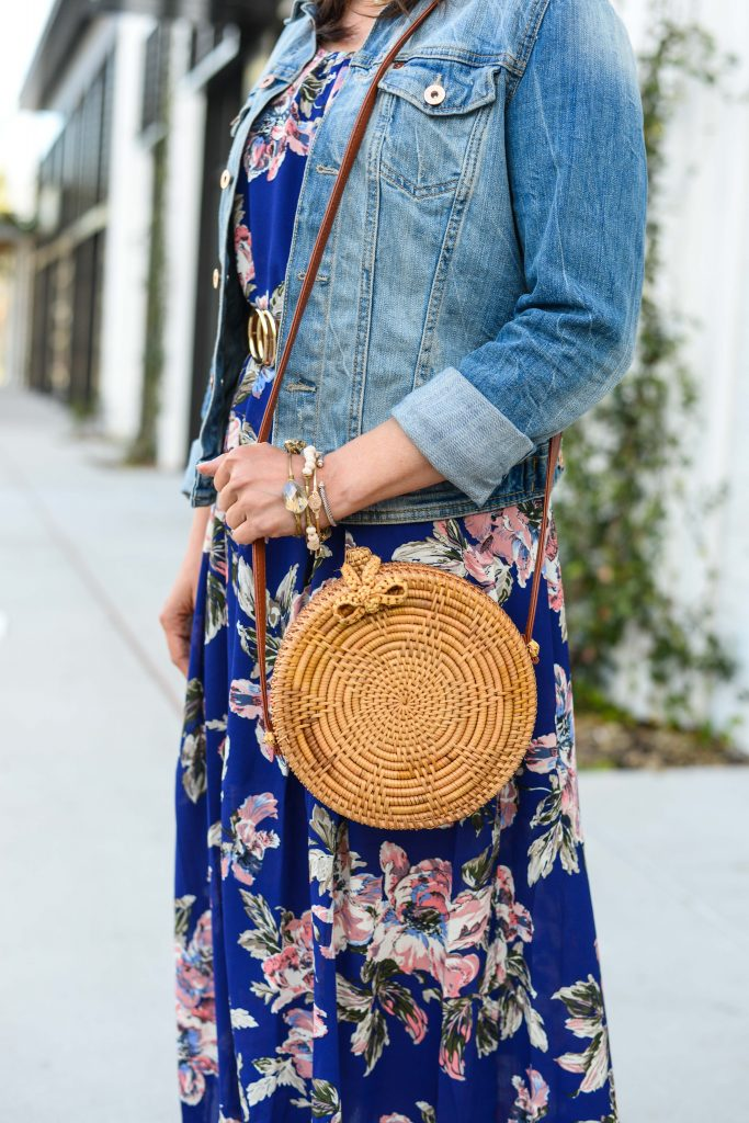 summer outfit | circle straw purse | stone bangles bracelets | Petite Fashion Blog Lady in Violet