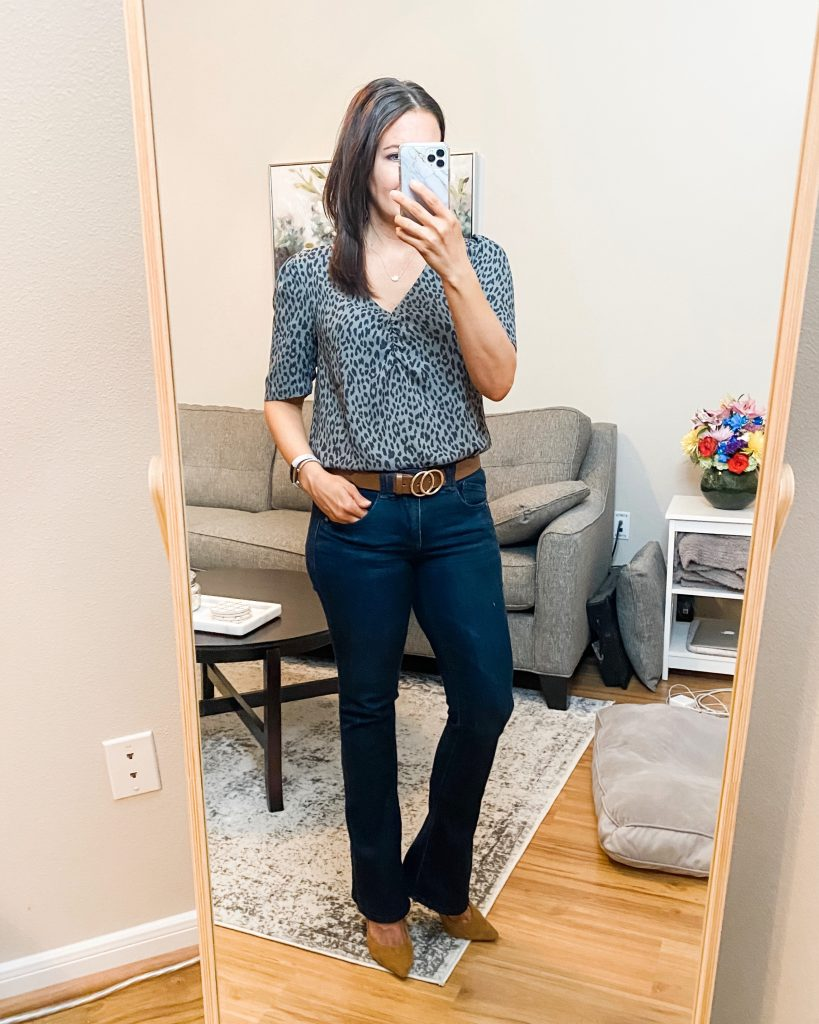 business casual work outfit | gray leopard print top | brown double ring belt | Southern Style Blog Lady in Violet