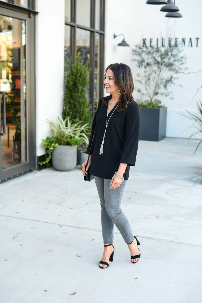 casual spring outfit | long black blouse with light gray denim | Budget Friendly Fashion Blog Lady in Violet