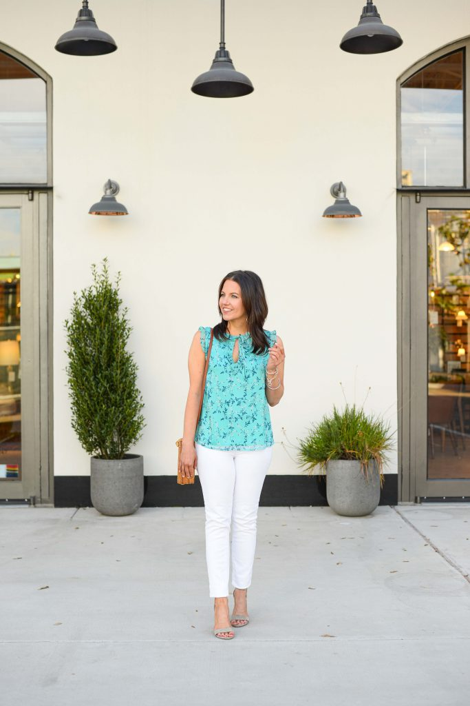 casual spring outfit | sleeveless floral blouse with white jeans | Texas Fashion Blog Lady in Violet