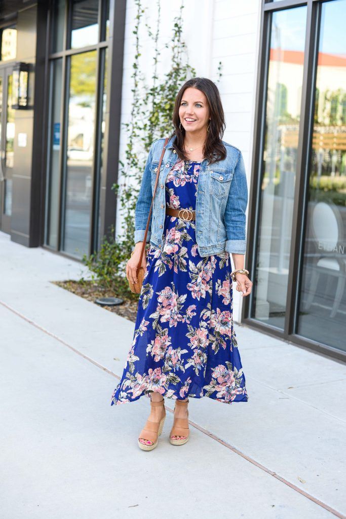 Spring outfit | denim jacket over maxi dress | Everyday Fashion Blog Lady in Violet